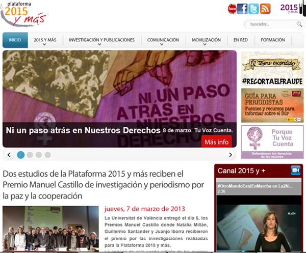 Web corporativa de la Plataforma 2015 y más