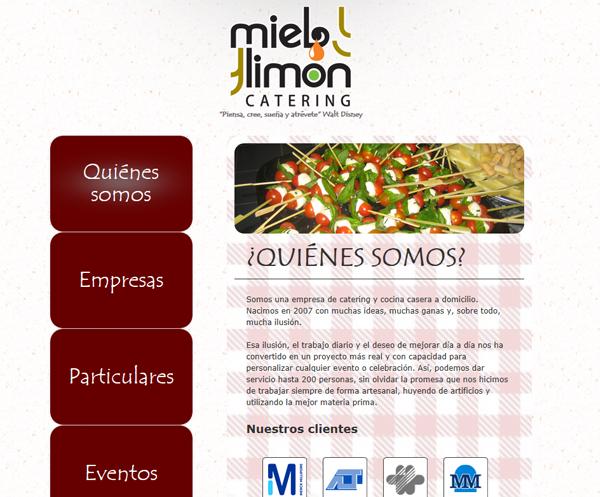 Web corporativa de Miel y Limón Catering
