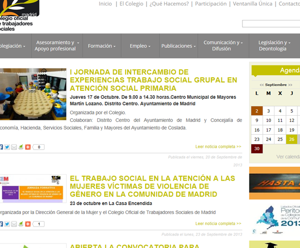 Web corporativa del Colegio Oficial de Trabajadores Sociales de Madrid